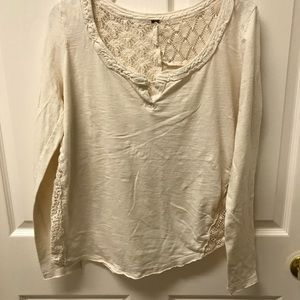 Free people cotton with back lace top